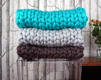 Chunky Yarn Blanket, Knitted Throw,  Wool Knit Blanket ,Chunky knitted blanket,  Chunky knit throw, Chunky wool blanket,