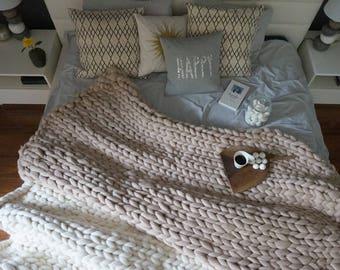 Chunky Yarn Blanket, Knitted Throw,  Wool Knit Blanket ,Chunky knitted blanket, Wool blanket,  Chunky knit throw, Chunky wool blanket,
