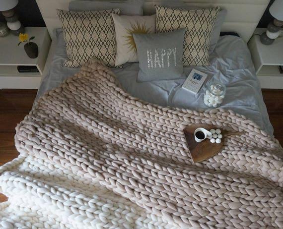 grosse couverture laine tricot jeter tricoter couverture. Black Bedroom Furniture Sets. Home Design Ideas