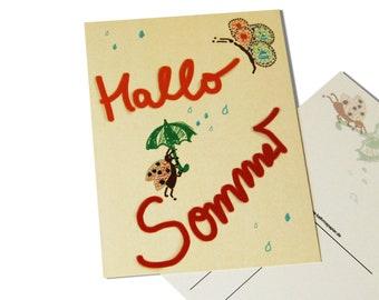 post card hello summer | buttefly