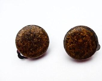 earrings clips circle vintage tiles