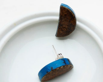 earrings studs halfmoon vintage tiles