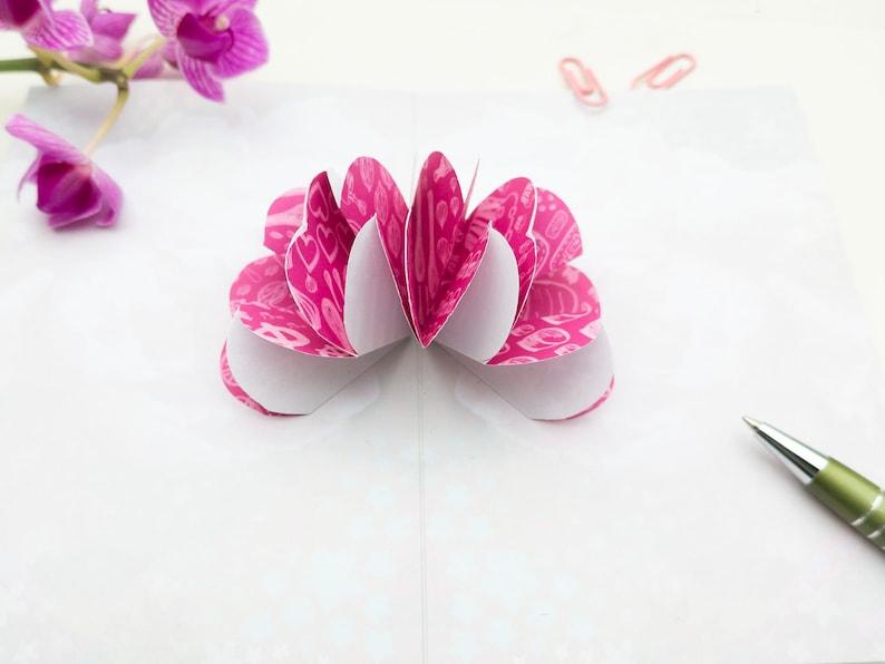 pop-up card flower pinke Blume