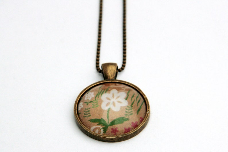 Cabachon necklace flower with ball chain image 0