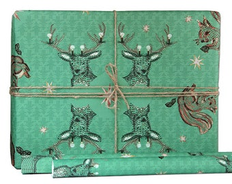 wrapping paper christmas green