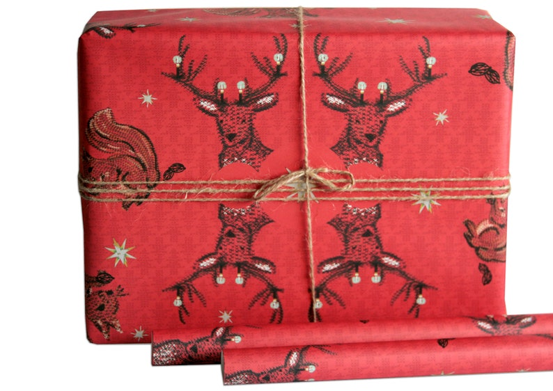 wrapping paper deer red image 0