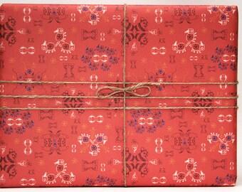Set wrapping paper orange