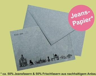 postcard Dresden skyline denim paper