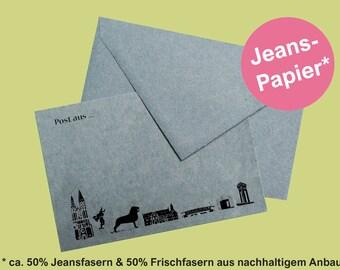 postcard Braunschweig skyline denim paper