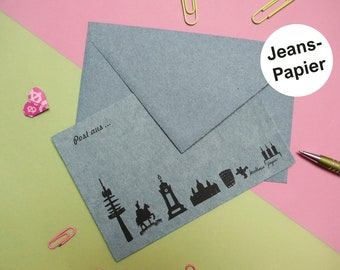 postcard Hanover skyline denim paper