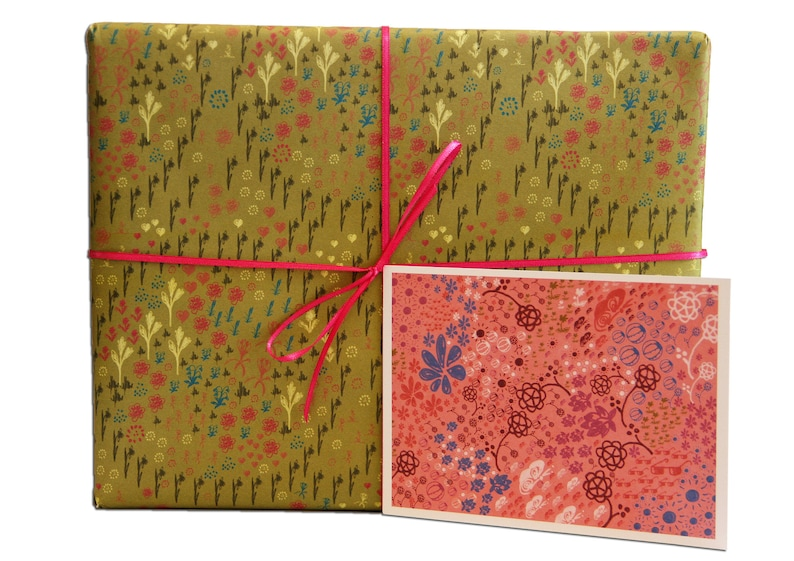 Set: 3 bows wrapping paper flowers spring image 1