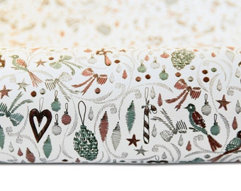 set wrapping paper christmas birds white