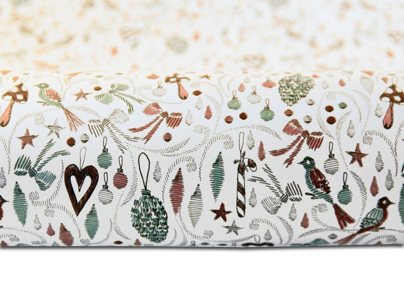set wrapping paper christmas birds white image 1