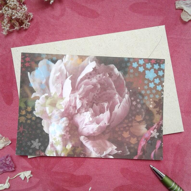 greeting card peony einzeln