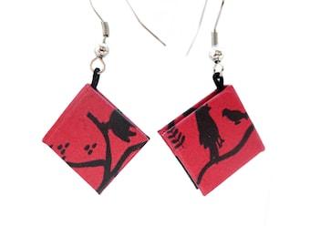 earrrings with mini books red