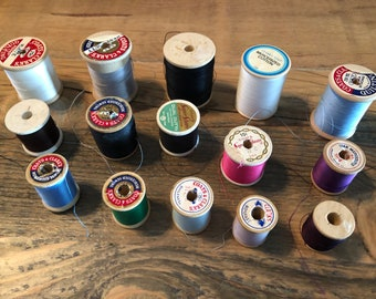 8 Vintage Thread Spools seven are Wooden with Original String Advertising Quilting Crafting Cotton and Silk Lot 74Red USA