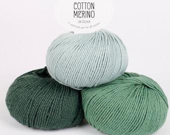 Superwash Merino Wool and Cotton Yarn - Superwash merino yarn - DK yarn - Drops COTTON MERINO wool yarn - Worsted weight yarn - 50 g 110 m
