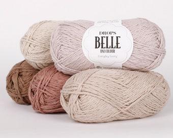 Cotton yarn mixed with Linen and Viscose, Crochet yarn, Knitting yarn, DK yarn, Light Worsted yarn, Summer fiber, Drops yarn DROPS Belle