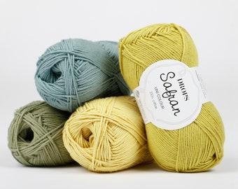 Cotton yarn, Amigurumi yarn, Crochet yarn, Summer yarn, Crochet cotton yarn, Soft cotton yarn, Knitting cotton yarn, Egypt cotton, Safran