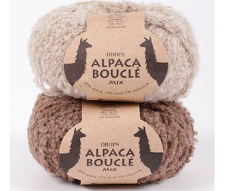 DROPS Alpaca Boucle, Alpaca yarn, Alpaca fiber, Wool yarn, Knitting yarn, Aran yarn, Worsted yarn, Natural yarn, Knitting thread, Wool