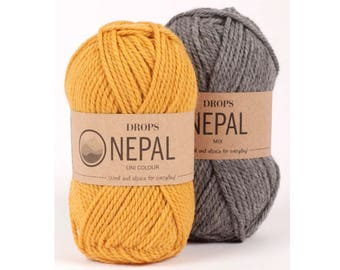 DROPS Nepal - Wool yarn - Knitting yarn - Aran weight yarn - Worsted yarn - Soft yarn - Warm yarn - Winter knitting - Knitting yarn wool