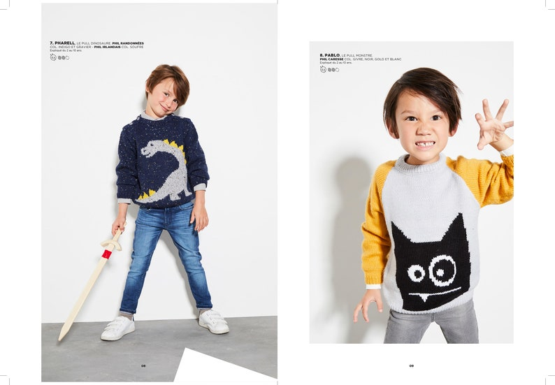 Knitting magazine for kids 696 sizes by age from 2 to 10 years season 2019 Fall-Winter PHILDAR knitting magazine no