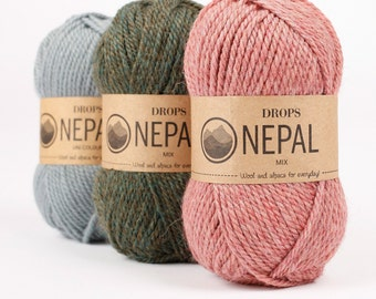 DROPS Nepal - Wool yarn - Knitting yarn - Aran weight yarn - Worsted yarn - Soft yarn - Warm yarn - Winter knitting - Knitting yarn wool