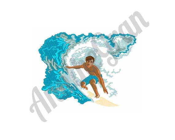 Surfer boy embroidery design waves embroidery design machine etsy