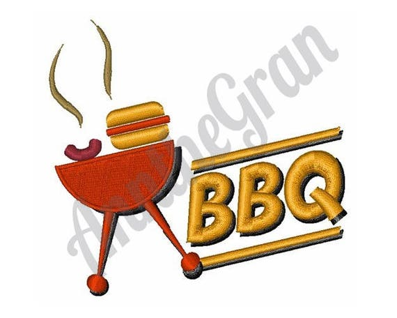 Bbq Grill Embroidery Design Machine Embroidery Design Bbq Etsy