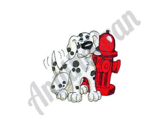 Puppy Dog Red Fire Hydrant//Daisy Flower//Pets Iron on Applique//Embroidered Patch