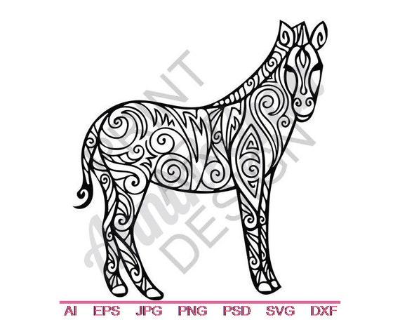 Tribal Zebra Svg Dxf Eps Png Jpg Vector Art Clipart Etsy