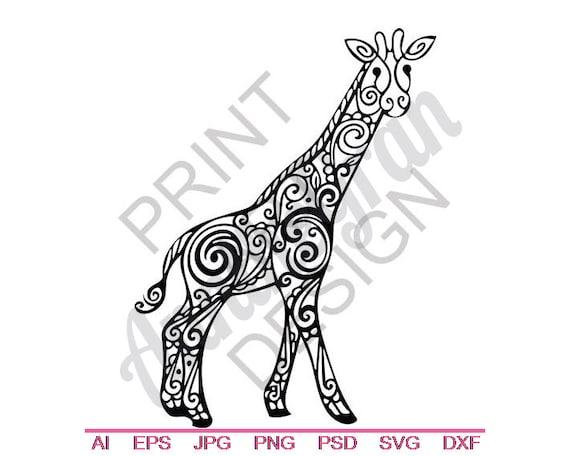 Tribal Giraffe Svg Dxf Eps Png Jpg Vector Art Clipart Etsy