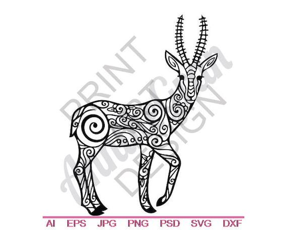 Tribal Gazelle Svg Dxf Eps Png Jpg Vector Art Clipart Etsy