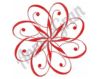 Swirly Floral Shape - Machine Embroidery Design, Swirl Flower Embroidery Pattern