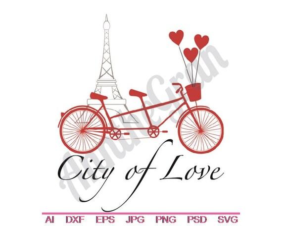 Velo Tandem De Paris Tour Eiffel Svg Dxf Eps Png Jpg Vecteur
