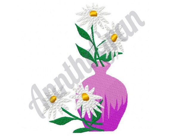 Daisies In Vase Machine Embroidery Design Daisy Flower Etsy