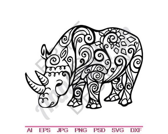 Tribal Rhino Svg Dxf Eps Png Jpg Vector Art Clipart Cut Etsy