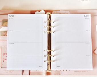 Printable Weekly Planner Inserts (horizontal) 2018 A5 / Wochenübersicht 2018 Sofortdownload