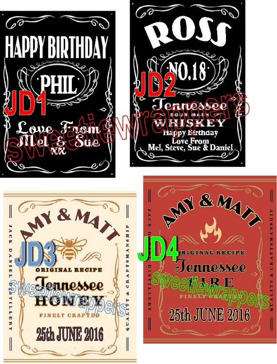 24 x Personalised Mint Chocolate Party Favour Jack Daniel inspired