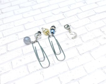Tiny Moon Clip Set - Moon Planner Accessories - Moon Charm with Beaded Page Markers