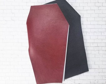 Faux Leather Coffin Notebook in Black or Red - Vegan Halloween Stationery - Handmade Journal