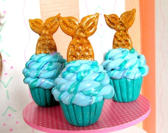 "Mermaid American Food 18"" Girl Doll Mermaid Tail Cupcake Summer Doll Accessory Mini Mermaid Cupcake Doll Bakery Sweets Shop Dessert for AG"