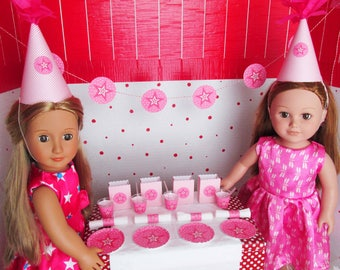 """American Birthday 18"""" Girl Doll Party Supplies: Plate, Cup, Straw, Napkin, miniature Doll Birthday Party Accessories, Pink"""