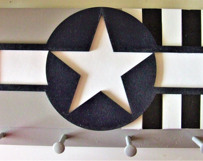 United States Military Wall Mounted Aircraft Insignia with Invasion Stripes (1944) on a Gray Wooden Keychain Rack