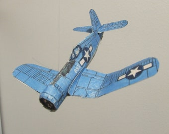 F-4U CORSAIR Famous WWII Fighter Aircraft Cut & Glue Paper Airplane Kit