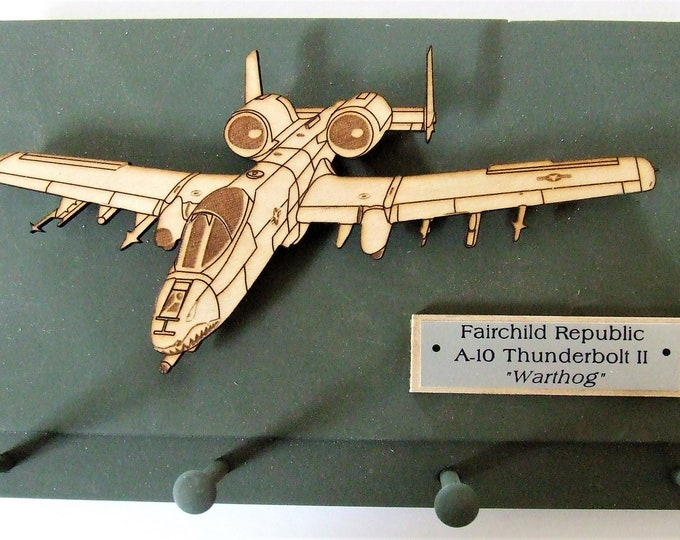 "United States Military Fairchild Republic A-10 Thunderbolt II ""Warthog"" Wall Mounted Keychain Rack"