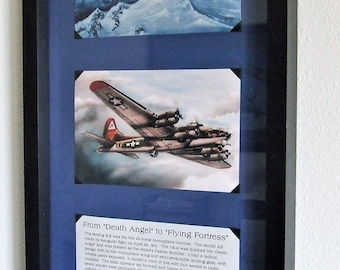 """History of B-9 to B-17 WWII Aircraft Framed 5"""" X 7"""" Prints in a Black Frame"""