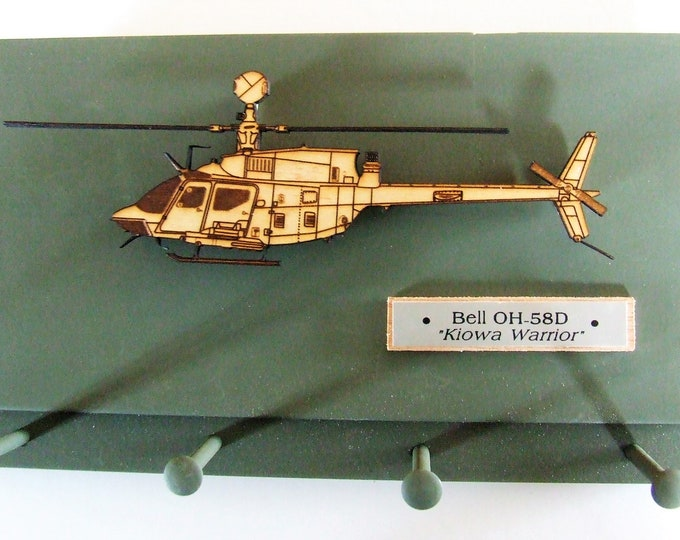 """United States Military Bell OH-58D Kiowa """"Warrior"""" Helicopter Wall Mounted Keychain Display Rack"""