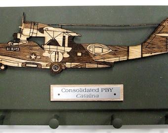 U.S. Military World War II - Consolidated PBY Catalina Aircraft Keychain Rack