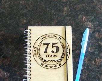 """Commemorative WWII 75th Anniversary Memorabilia Laser Cut 4"""" X 6"""" Journal Book"""